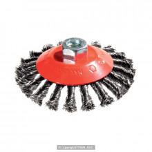 Щётка коническая жгутовая Д100*M14, ворс сталь 0,50 (сталь/нерж. сталь)